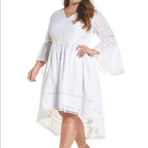 🆕 Eliza J White Cotton High Low Lace Overlay